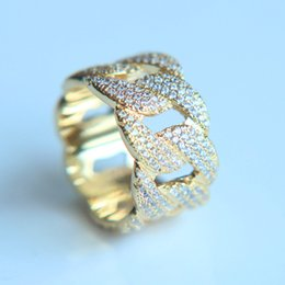 Wholesale 18k Gold Plated Ring Mens - 2018 men Jewelry New Hip Hop King Mens Color Ring Exaggerate Big Rings High Quality Iced Out Cz Crystal Cuban Link ring pave cz wonem