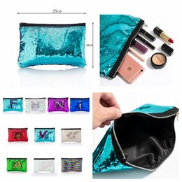 Wholesale Cosmetic Handbags - Mermaid Sequin Cosmetic Bag Glitter Makeup Purse Pouch Pocket Clutch Evening Bling Bags Storage Handbag DDA422