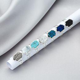 anéis de pedra naturais ajustáveis Desconto Venda quente Designer Druzy Anéis das mulheres s Geométrica Faux pedra natural de Prata Banhado A Ouro Anéis ajustáveis Para feminino Moda Jóias