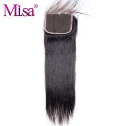 """Lisa cheveux en Ligne-Mi Lisa Cheveux Raides 4 """"x4"""" Fermeture de Lacet 1 Pièce Seulement 100% Cheveux Humains Livraison Gratuite Remy Main Attache Trois Part Suisse Dentelle"""