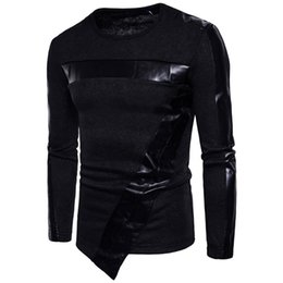 Wholesale Leather Computer Sleeve - Newly Men Sweater Leather O Neck Long Sleeve Knitwear Cosy Fabric Male Leisure Pullover Pullovers Irregular Hem Autumn Black Top