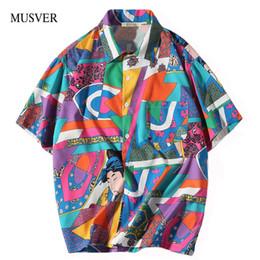 36f8916a MUSVER 2018 Summe Men Loose Hip Hop Shirts Harajuku Japanese Ukiyo E Anime  Shirt Short Sleeve Top Hawaiian Shirts Streetwear