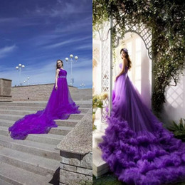 models for photography Promo Codes - Elegant Evening Formal Dresses 2018 for Photography One Shoulder Beading Waist Long Cloudy Train Purple Tulle Prom Dresses