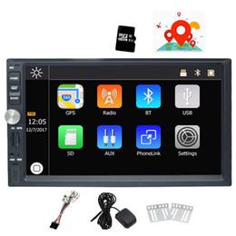 espejo de pantalla táctil bluetooth Rebajas 7 '' Doble Din Car Estéreo Win CE Operación Sistema Pantalla táctil Coche Reproductor de DVD Navegación GPS Bluetooth Mirror-Link Cámara de visión trasera AM / FM