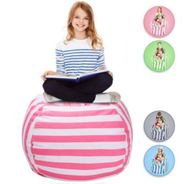 Wholesale Cotton Barrel Bag - Kids Stuffed Animal Storage Bean Bag 18inch Cotton Canvas Organizer Box Organization Sack Chair Portable Clothes Storage 5pcs OOA4637