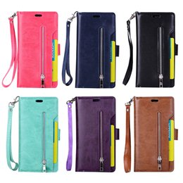 Wholesale Slots Cash - Zipper wallet cell phone case for iPhone X 6 7 8 Plus leather pouch bag with cash slot card pocket for Samsung Note8
