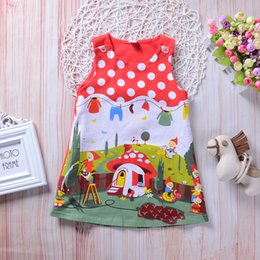 robes d'été rouge pour les filles Promotion Summer Baby Toddler Enfants Fille Robe Sans manches Dot Robes Casual Enfants Vêtements Vestidos Robe Rouge Tenues Vêtements