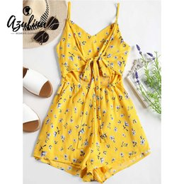 db30ed25854a 20187 AZULINA Women Smocked Cut Out Flower Cami Romper Bowknot Zippers Women  Casual Summer Beach Playsuits Short Jumpsuits Overalls