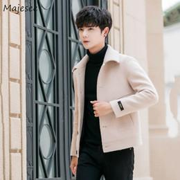 2019 мужская мода корейское пальто Шерсть пальто мужчины короткий досуг шерстяные твердые мода корейский зимнее пальто отложным воротником однобортный все Матч теплые пальто дешево мужская мода корейское пальто