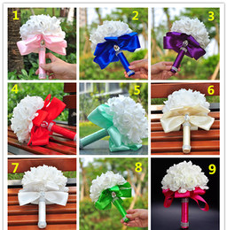 Wholesale cheap blue flower wedding bouquets - 2017 Colorful Good Quality Romantic Wedding Flowers with Crystals Satin Bridal Bouquet Cheap Red Royal Blue White Rose Wedding Decorations