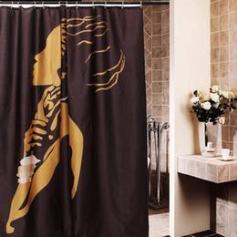 eco amigável espessamento chuveiro cortina Desconto Mulher Africano dos desenhos animados À Prova D 'Água Do Banheiro Cortina de Chuveiro 168x183 cm Decoração Do Banheiro Presente New Hot Moda Cortinas de Chuveiro