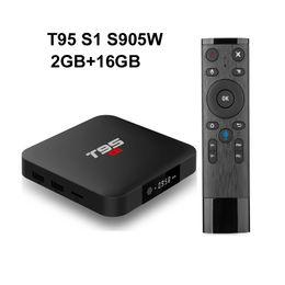 mx tv box quad core Promotion 10PCS T95 S1 2 Go 16 Go Google contrôle de la voix Android 7.1 tv box S905W soutien StbEmu Youtube Netflix