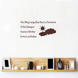 Wholesale El Decals - El Sol Siempre Vuelve A Brillar DIY Spanish Quote Stickers Sun Vinyl Mural Decals Bedroom Living Room Home Decoration