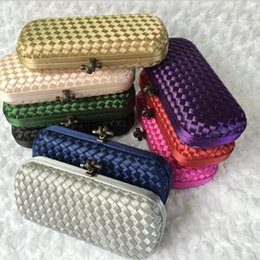 Wholesale Wedding Clutch Lace - Famous Brand Design Knitting Banquet Party Evening Bag Knot Hasp Vintage Women Weave Day Clutches Wedding Handbags and Purses
