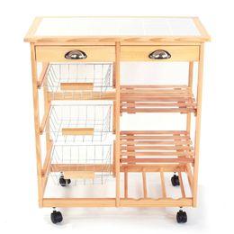 espelhos de exibição grossistas Desconto Cremalheira removível do armazenamento da 2-gaveta do carro da sala de jantar da cozinha com cor de madeira das rodas de rolamento