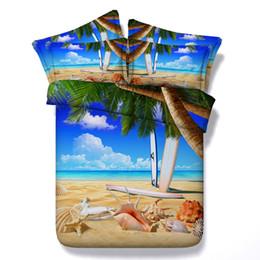3D Seestern Bettbezug Bettwäsche-Sets Königin Kokosnuss Tagesdecken Urlaub Quilt Covers Bettwäsche Kissenbezüge Meer Strand Thema Kissen Shams von Fabrikanten