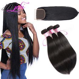 Cheveux indiens vierges soyeux en Ligne-Péruvienne Brésilienne Vierge Armure de Cheveux Humains Non Transformés Soyeux Droit Couleur Naturelle 4x4 Dentelle Fermeture Avec 3 Faisceaux Cheveux Indiens Malaisiens