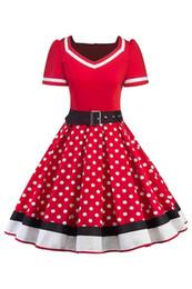 2019 короткие платья для работы Ретро женщины горошек 1950-х годов платья с поясом 2019 качели лето женщины работа Dress повседневная партия платья с коротким рукавом FS3876 дешево короткие платья для работы