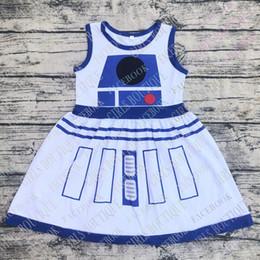 2019 robes imprimées en gros de coton pour filles Wholesale bébé filles R2D2 robes costume robe enfants anniversaire robe enfant en coton imprimer boutique robes promotion robes imprimées en gros de coton pour filles