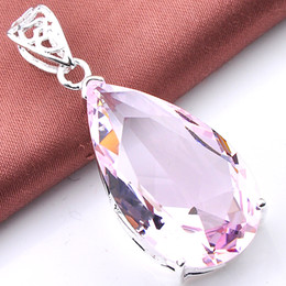 Wholesale Plate Suppliers - Real Promotion Party Drop Pink Topaz Jewelry Gemstone Jewelry Pendant Colares Reliable Supplier Crystal Antique Silver Garnet Pendant P0360