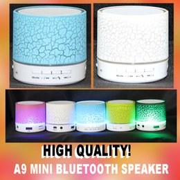 Wholesale Portable Speakers For Android Phones - Mini portable A9 wireless LED shine Bluetooth Speaker with subwoofer stereo for android ios with bluetooth function in retail box