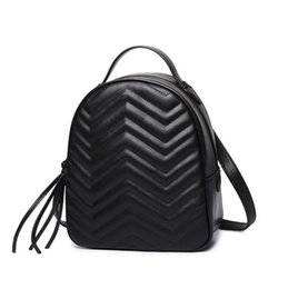 Wholesale Outlet Leather Bags - Factory outlet brand package street beat wave pattern leather chain bag fashion leather backpack all-match wavy circular single shoulder