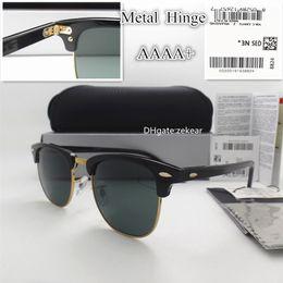sunglasses white glass circle Australia - AAAAA Classic Glass Lens Men Women Sunglasses UV400 Plank Eyewear Metal Frame Hinge Circle Round Trend Vintage Eyeglass With Box Case