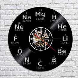 Wholesale arts elements - 1Piece Chemical Element Periodic Vinyl Record 3D Wall Clock Study Chemistry School Collehe Classroom Living Room Wall Art Decor
