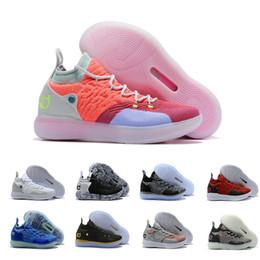 2019 KD 11 Баскетбольные кроссовки Черный Серый Персидский Фиолетовый Хлор Синие кроссовки Kevin Durant 11s Дизайнерские мужские кроссовки Chaussures Zapatos от