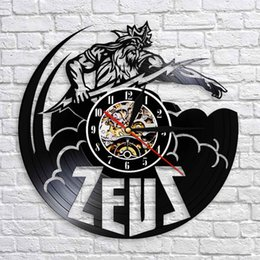 2019 schwarze kunstfiguren 1 Stück Zeus Statue Wanduhr Vintage Vinyl Uhren Griechische Mythologie Dekor Zeus Skulptur Dekor Griechische Götter Figur Geschenk Für Männer rabatt schwarze kunstfiguren