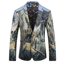 Wholesale Colorful Blazers - Men Slim Fit Printed Blazer Fashion Mens Stage Wear England Style Mens Casual Colorful Velvet Blazers