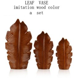 Wholesale Minimalist Vases - Nordic modern minimalist leaf flower vase ornaments Home furnishing living room TV cabinet model room decoration