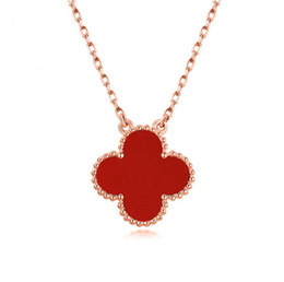 Wholesale Necklace Agate - 925 Sterling Silver Necklace Women's Clover Necklace Agate Shell Korea Clavicle Necklace One Generation Anti-allergy