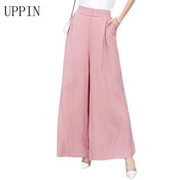 b2c120ebcf3 UPPIN 2017 New Plus Size Summer Fashion Women Solid Wide Leg Loose Linen  Dress Pants Female Casual Skirt Trousers Capris Culotte