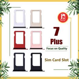 Barra del socket online-Per Apple iPhone 7 Plus Nano Sim Card Supporto per porta slot Sostituzione Jet Nero Oro rosa Argento Nero Oro Accessori per adattatori