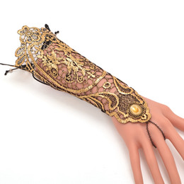 black gothic gloves Coupons - Vintage Gothic Queen Golden Lace Gloves Medieval Victorian Armband Cosplay Accessory
