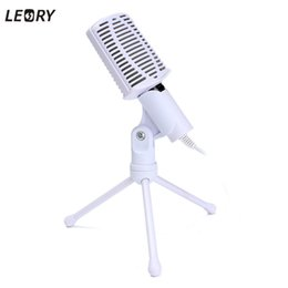 Wholesale Microphone Holder For Stand - Wholesale-LEORY Rotatable 3.5mm Condenser Microphone Mic Recording Stand For PC Laptop Desktop Computers Microphone With Holder