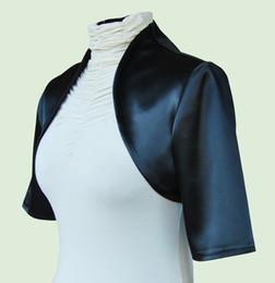 Wholesale White Satin Bolero Shrug - 2017 New Women Black Wedding Prom Satin Bolero Shrug Jacket S M L XL XXL