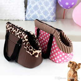 Grandi cani trasportano borse online-CALDO! Pet Dog Carrier Dog Bag Pet Carrier Leopard Dots Stampato Borsa per cani piccola Cat Carrier portatile Borsa da viaggio di viaggio Large Size