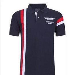 Wholesale Collared Sports Shirts - Summer Hot In Spain Fashion Sport Polo Shirt Men ASTON MARTIN RACING 100% Cotton Polos Shirts Red White
