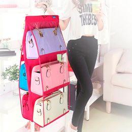 Wholesale Handbags Organizer Closet - 6 Pocket PVC Storage Bag Organizador Hanging Bags Closet Organizer Wardrobe Rack Hangers Holder For Fashion Handbag Purse Pouch