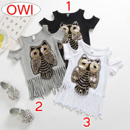 Wholesale girls owl top - INS Summer Casual Girls Sequins Owl Printed Shirt Off Shoulder Short Sleeves Tops For Baby Girl Fashion New Children Tassel Long T-shirt