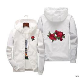 chaquetas rompevientos florales Rebajas Chaquetas de bordado de rosa Para hombre Primavera Otoño Chaqueta rompevientos Mujeres delgadas Floral Slim Fit Abrigos deportivos