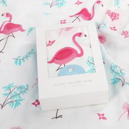 Wholesale Newborn Baby Bath Robe - Ins Baby Muslin Swaddles Wraps Flamingo Blanket Nursery Quilt Robes Bedding Newborn Ins Swadding Bath Shower Towels Parisarc 50Pcs