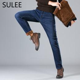 Wholesale Fleece Lined Jeans - SULEE Brand Winter Fleece Jeans Lined Stretch Denim Warm Black Jeans For Men Designer Slim Fit Brand Trousers Plus size 44 46
