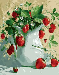 Wholesale Rectangle Flower Vase - Cherry and Vase Painting By Numbers DIY Flower Digital Wall Canvas Art Picture Coloring by numbers For Home Wall Artwork Gift