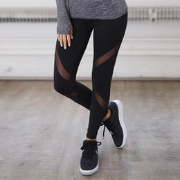 spandex delle ghette nere delle donne Sconti FRECICI Womens Black mesh Yoga Pants Mesh Patchwork Leggings Sport Pantaloni da yoga da donna Running Workout Leggings Gym Fitness Tights