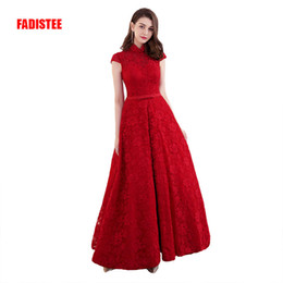 Wholesale modern cotton dresses - FADISTEE New arrival elegant evening dresses prom party cap sleeves formal long high neck floor lenght sexy Modern style
