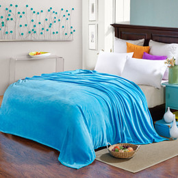 Wholesale Machine Washable Fabrics - Wholesale- SunnyRain Solid Color Bed Blanket Fleece Blankets For Bed Throw Blanket King Size 200x230cm Machine Washable