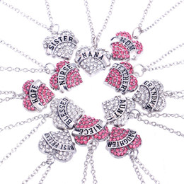 2019 diamantes da família Modelos explosivos de comércio exterior Letras inglesas gravadas Coração Diamante Diamante Membros da família Mãe e filha Amor colar de afeição desconto diamantes da família